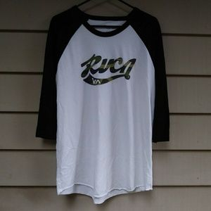🌐$10 Mens RVCA Raglan Baseball Shirt XL